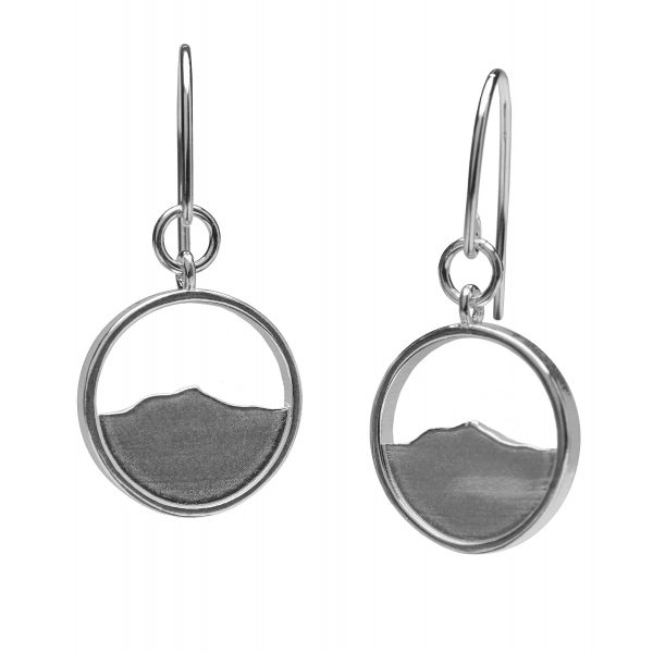 Mountain earrings, topographic jewelry