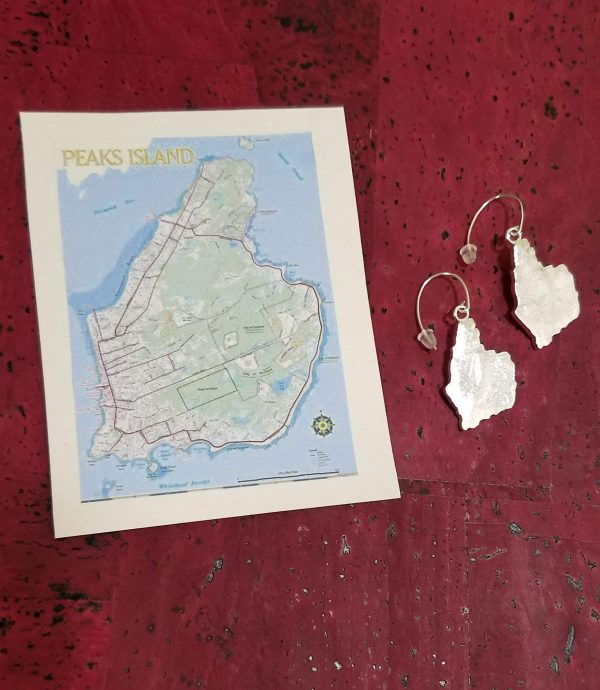 Peaks Island Maine topographical earrings