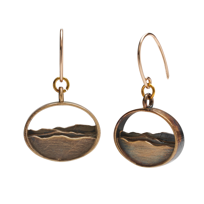 Silhouette Earrings: Adirondack Silhouette Earrings Oxidized Brass