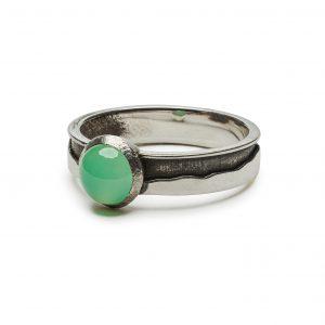 Green Mountain ring with chrysoprase