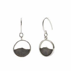 Camel's Hump earrings, oxidized sterling