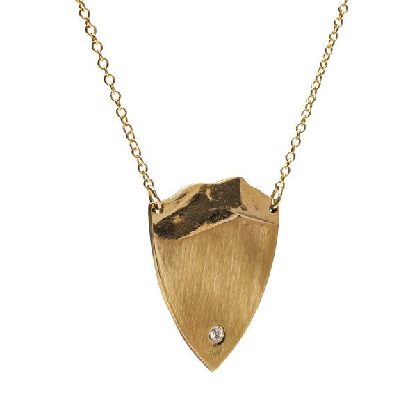 Brass shield mountain necklace with diamond